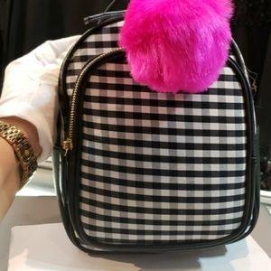 Handbags - Black N white Buffalo checker Plaid mini backpack